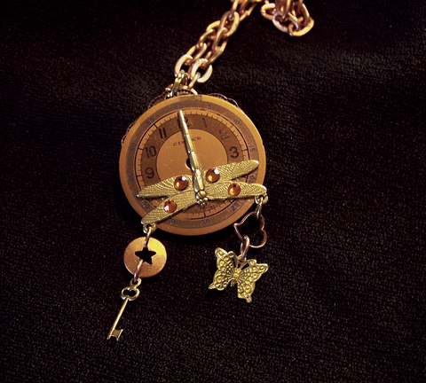 Copper Watch Dragonfly Butterfly Steampunk Pendant
