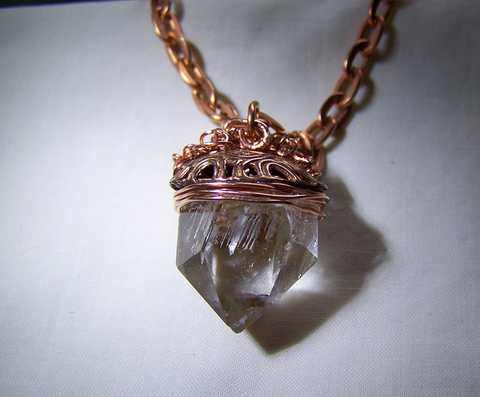 Natural Quartz Crystal Wire Wrapped Copper Pendant
