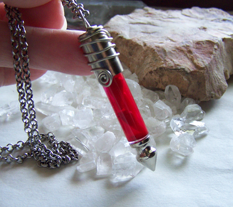 Red Coral Dragon's Teeth Silver Bullet Jewelry Pendant Necklace