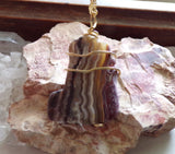Natural Crazy Lace Agate Wire Wrapped Stone Pendant Necklace