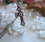 Quartz Crystal Silver Celtic Cross Pendant Necklace