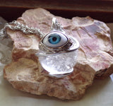Natural Clear Quartz Crystal Ball Evil Eye Pendant Necklace