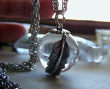 Natural Quartz Crystal Ball Feather Wrap Pendant