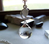Natural Quartz Crystal Ball and Moonstone Pendant