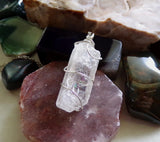Natural Danburite Sterling Silver Wrapped Gemstone Crystal Pendant Necklace