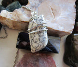 Dendrite Agate Natural Wire Wrapped Crystal Pendant Necklace