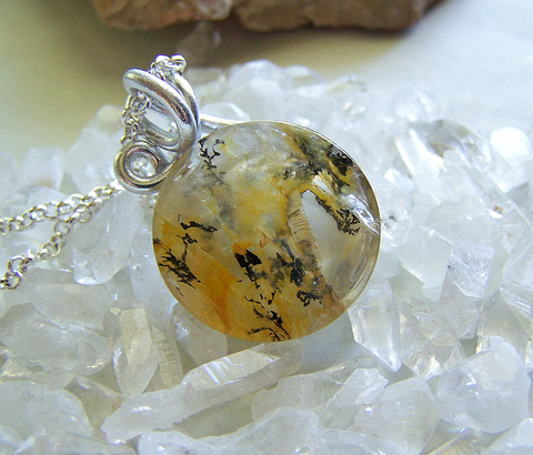Gold Dendrite Quartz Natural Crystal Pendant
