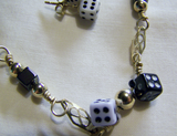 Retro Vintage Black and White Dice GF Bracelet and Earrings Set
