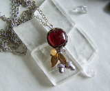 Orange Dichroic Glass Fall Leaves Acorn Pendant Necklace