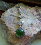 Green Dichroic Glass Earth Element Celtic Pendant Necklace