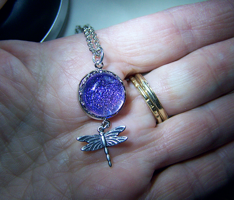 Lavender Twinkle Dichroic Glass with Dragonfly Pendant