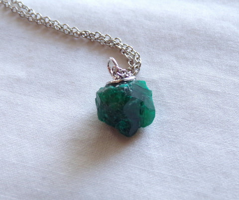 Natural Teal Dioptase Gemstone Crystal Pendant Necklace