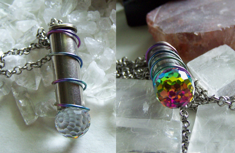 Swarovski Crystal Faceted Rainbow Disco Ball Silver Bullet Necklace