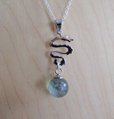 Sterling Silver Dragon Rainbow Fluorite Crystal Pendant Necklace