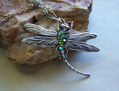 Iridescent Jeweled Silver Dragonfly Pendant