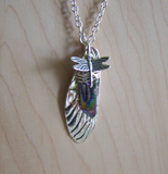 Rainbow Aura Quartz Silver Dragonfly Wing Necklace