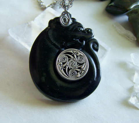 Black Jade Stone Dragon Spiral Gemstone Pendant