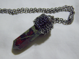Dragon's Blood Jasper Chain Wrapped Gemstone Pendant Necklace
