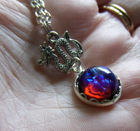 Dragon's Breath Opal Vintage Pendant Necklace