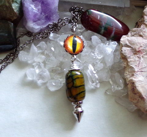 Dragon's Vein Green Gold Agate Spike Pendant Necklace