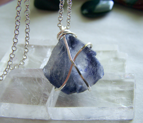 Blue Dumortierite in Quartz Crystal Pendant
