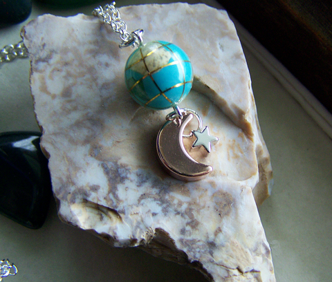 Turquoise and Gemstone Planet Earth Celestial Pendant