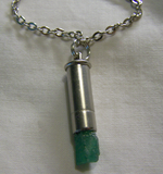 Natural Green Emerald Raw Gemstone Bullet Pendant