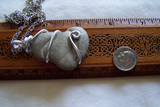 Fairy Stone Natural Calcite Wire Wrapped Earth Pendant