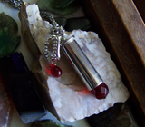 Red Crystal Vampire Fangs Silver Bullet Jewelry Pendant Necklace
