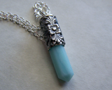 Amazonite Gemstone Filigree Silver Bullet Jewelry Necklace