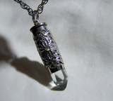 Quartz Crystal Filigree Silver Bullet Pendant Necklace