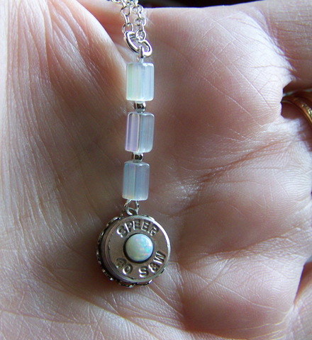 Natural Opal Gemstone Silver Bullet Necklace