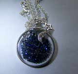 Cosmic Metallic Blue Floating Crystals Double Sided Glass Locket