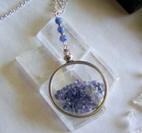 Floating Crystals Blue Sapphire Shaker Double Sided Glass Locket Necklace