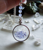Tanzanite Gemstones Floating Crystal Shaker Double Sided Glass Locket Necklace