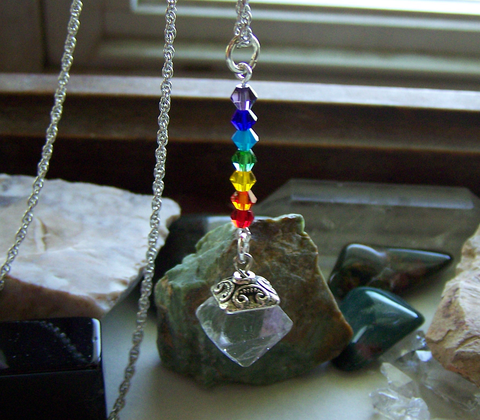 Rainbow Chakra Fluorite Pyramid Gemstone Necklace
