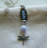 Forget Me Not Vintage Sterling Charm Blue Agate Dragonfly Necklace
