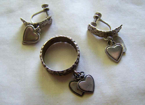 Vintage Forget Me Not Sterling Silver Uncas Ring and Earrings Set