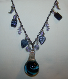 Spiral Galaxy Blown Glass 3D Blue Elemental Necklace