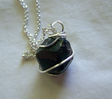 Natural Burgundy Garnet Gemstone Wire Wrapped Pendant