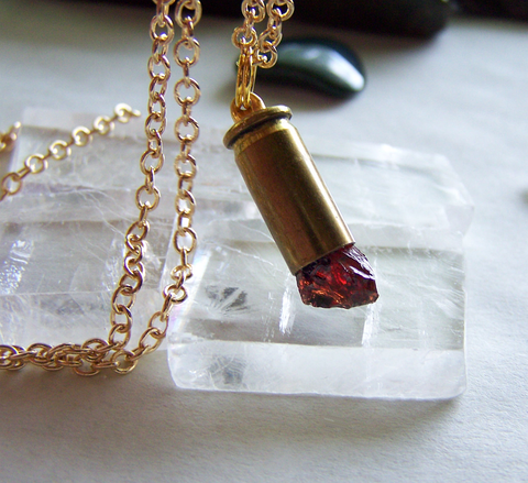 Natural Dark Red Garnet Raw Gemstone Bullet Jewelry Pendant