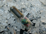 Gemstone Glass Vial Silver Bullet Jewelry Pendant