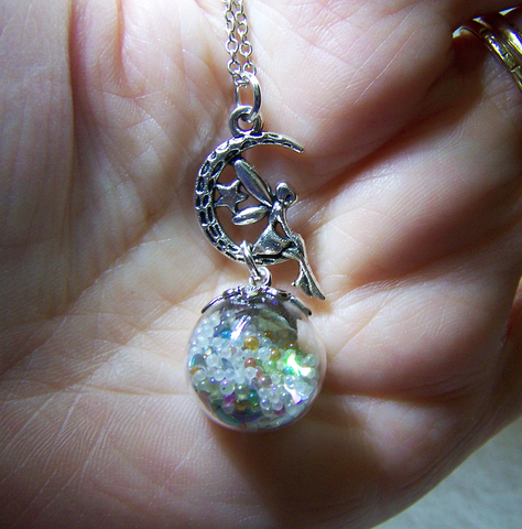 Faery Glass Ball Floating Orbs Glow in the Dark Pendant Necklace
