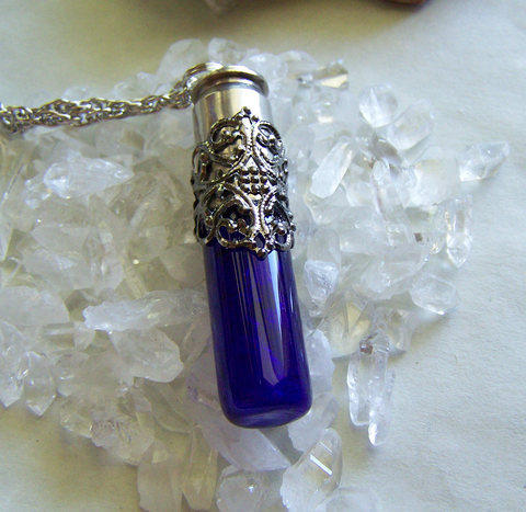 Cobalt Blue Glass Spirit Bottle Filigree Glow Bullet Necklace