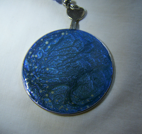 Hand Painted Glass Tree of Life Evening Stars Pendant