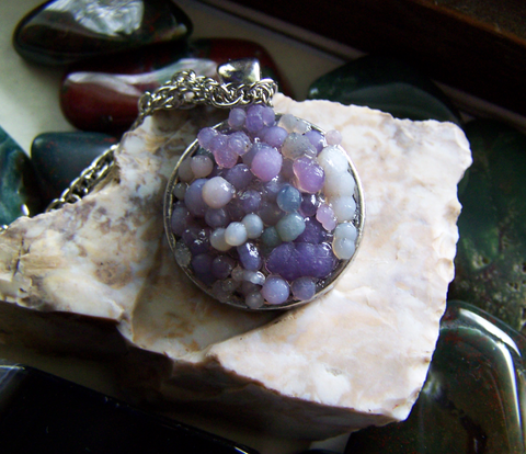 Grape Agate Natural Mosaic Gemstone Pendant Necklace