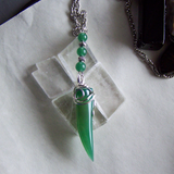 Green Agate Horn Polished Gemstone Pendant