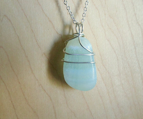 Pistachio Green Calcite Natural Crystal Gemstone Pendant Necklace