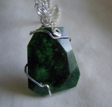 Green Fossil Coral Wire Wrapped Pendant
