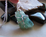 Natural Green Fluorite Wire Wrapped Crystal Pendant